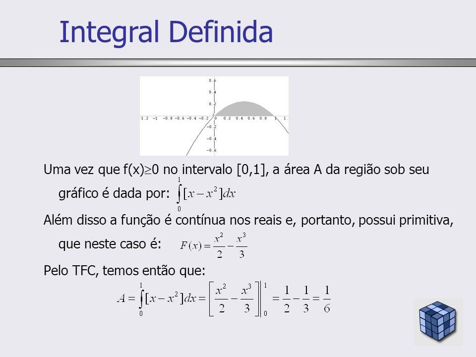 Integral Definida Uma vez que f(x)0 no intervalo [0,1], a área A da região sob seu gráfico é dada por: